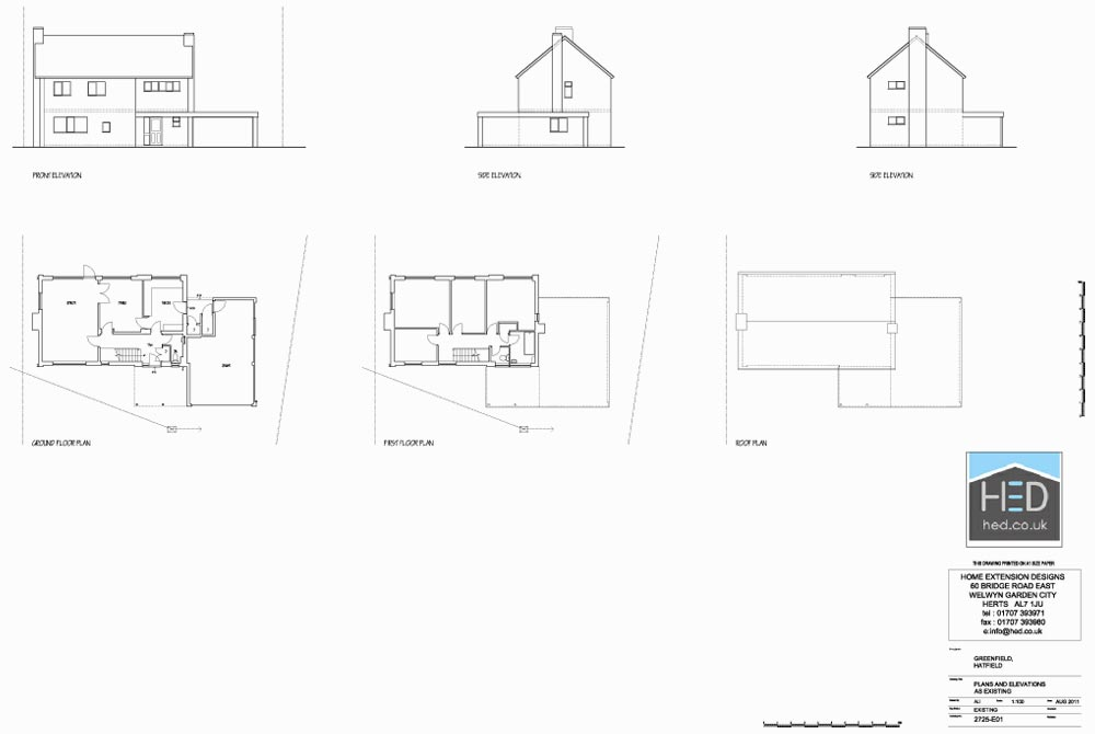 Greenfields, Hatfield, Hertfordshire - Exisiting Plan Drawings