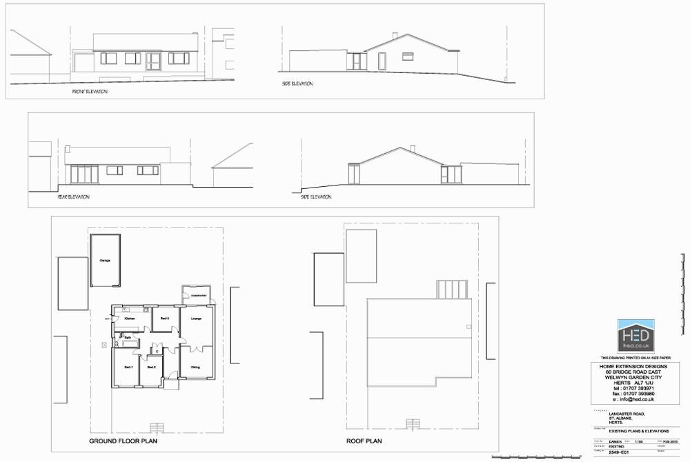 Lancaster Road, St Albans, Hertfordshire Loft Conversion - Existing Drawings