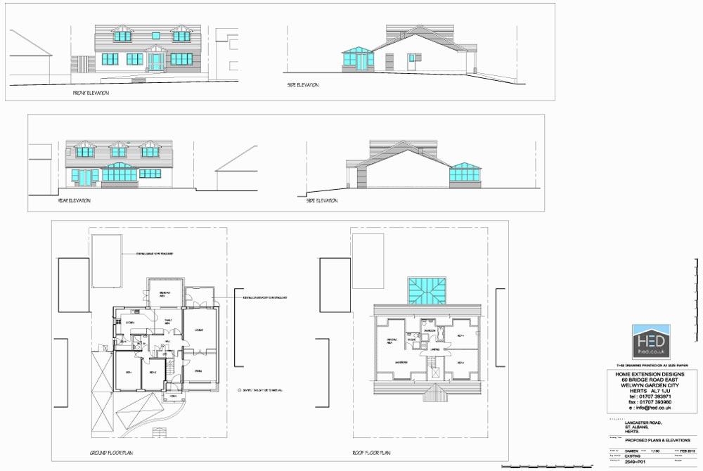 Lancaster Road, St Albans, Hertfordshire Loft Conversion - Proposed Drawings