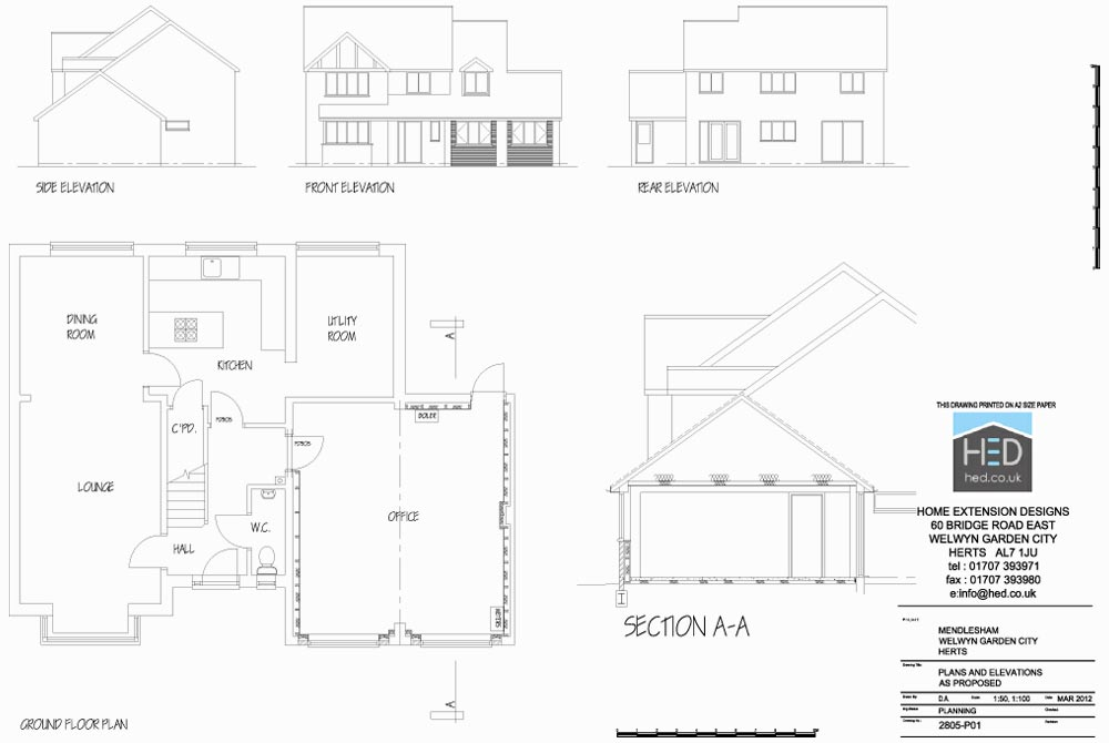 Mendlesham, Welwyn Garden City, Hertfordshire Garage Conversion - Proposed Drawings