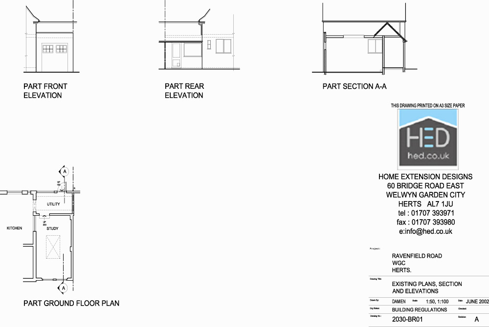 Ravenfield Road, Welwyn Garden City, Hertfordshire Garage Conversion - Existing Drawings