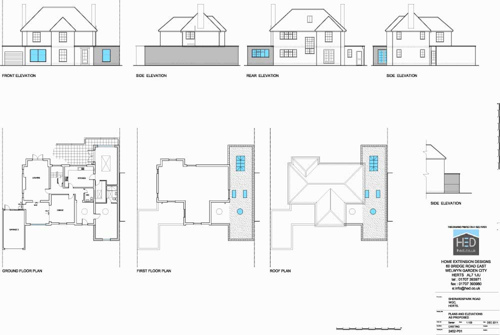 Sherrards Park Road, Welwyn Garden City, Hertfordshire Single Storey Extension - Proposed Drawings